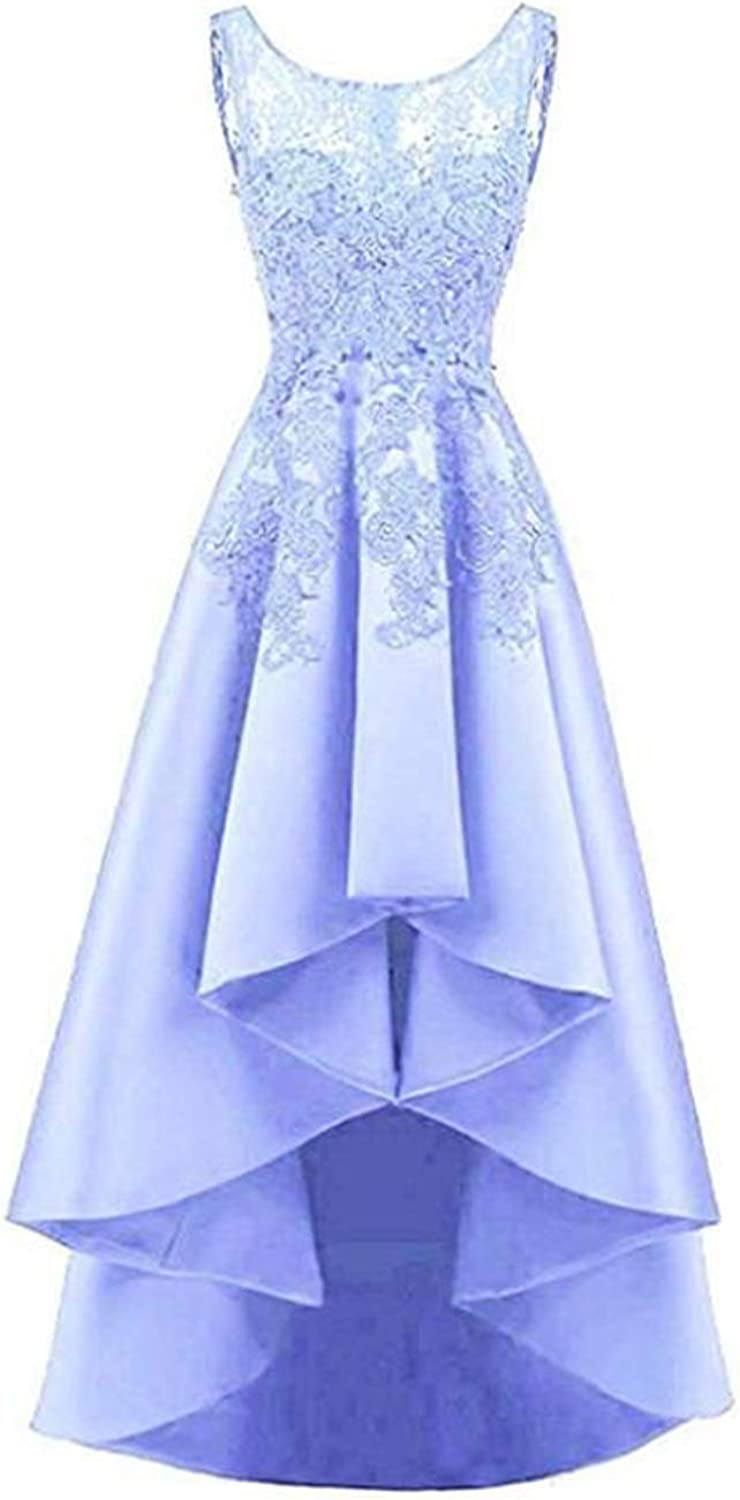 Alilith.Z Sexy High Low Satin Prom Dresses Long Appliques Lace Formal Evening Dresses Wedding Party Gowns for Women
