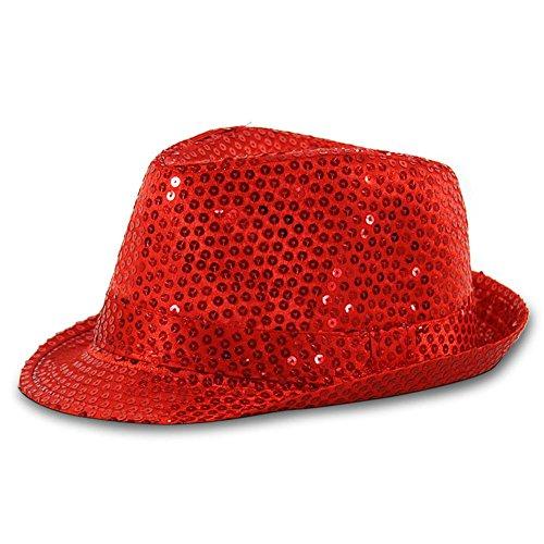 Seiler24 Extravaganter Tribly Hut in Rot mit Pailletten Karneval