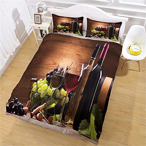 Juego de Cama de 3 Piezas Delicioso Vino Tinto Juego de Ropa de Cama 3 Piezas Poliéster para Cama Funda nórdica Sábana encimera 2 x Funda de Almohada - 180x210cm(71x83 Inch)