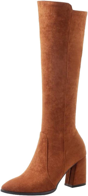 NIGHT CHERRY Women Fashion Block Heel Long Boots Zipper