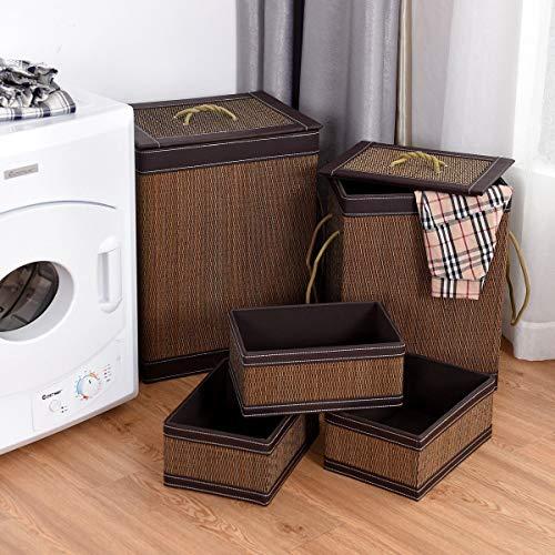 Bestdeal.shop Square Bamboo Basket 5 Pieces Hamper Laundry Basket Storage Bin Box Organizer Laundry Multi-Functional