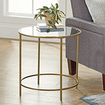 """Amazon.com: Better Homes And Gardens Safety-Tempered Glass Top Versatile Gold Nola Side Table, Finished On All Sides (Assembled Dimensions: 22"""" X 22"""" X 22"""") (Gold): Kitchen & Dining"""