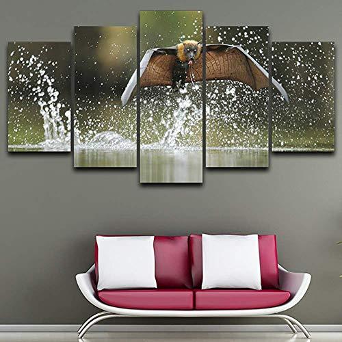 DGGDVP Decoración del hogar Cartel Sala de Estar 5 Panel Bat Flying Animal Pintura Moderna sobre Lienzo Arte de la Pared Imágenes HD Impreso Tamaño 2 Sin Marco