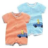 2 Paquetes Bebé Manga Corta Mameluco EI Verano Niñas Body Mono Pijamas de Algodón para Niños 18-24 Meses