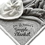 Monogrammed Sherpa Throw Snuggle Blanket | Personalized Unique Wedding Couple Gifts | Anniversary | Engagement Gift Blanket | Couples Christmas Gift