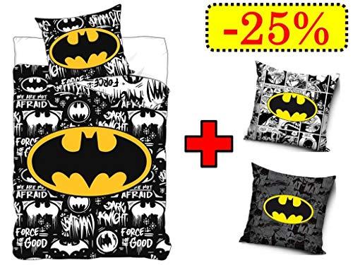TRENDHAUS Aktion Batman Bettwäsche Wendebettwäsche Set, 4-teilig, 135 x 200 cm, 80 x 80 cm, 100% Baumwolle, Linon, 2 x Kissenbezug 40 x 40 cm