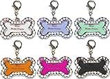 NAMENSANHÄNGER ~~ KNOCHEN ~~ HUNDEMARKE / SCHLÜSSELANHÄNGER / FOTORAHMEN / TASCHENANHÄNGER / ADRESSANHÄNGER für Hundehalsbänder: Silberfarben mit funkelnden Straßsteinchen inkl. kleiner Anhängevorrichtung - 2