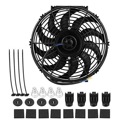 Radiador de ventilador de refrigeración del motor, ventilador eléctrico universal de 12 pulgadas, ventilador de motor eléctrico de empuje y tracción delgado automático con kit de montaje, para caravan