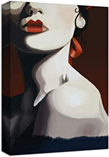 NWT Canvas Wall Art Woman with Light Red Lip Abstract Painting Artwork for Home Decor Framed - 24x36 inches