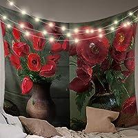 タペストリー ケシの花 紅い花 花瓶 インテリア おしゃれ 布ポスター 窓カーテン ファブリック装飾用品 壁飾り壁掛け モダンなアート 部屋飾り 部屋模様替え 個性ギフト 幅100cm丈150cm