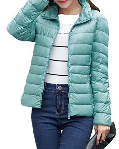 Piumino Leggero Donna Collo Alto Ultraleggeri Giacche di Piumino Manica Lunga Invernali Corto Cappotto Ripiegabile Caldo Down Jacket Trapuntato Giubbotto Giù Impermeabile Giacca Giubbini Verde XL
