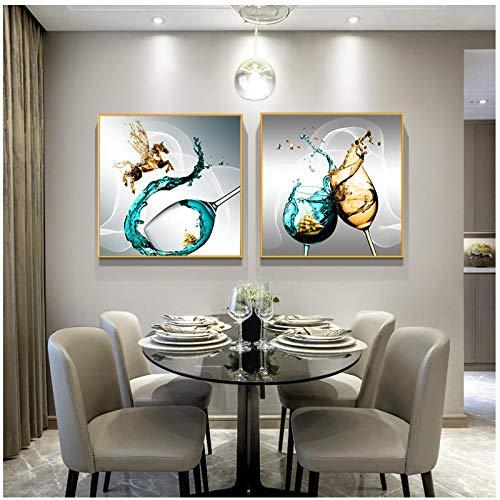 Cuadros Decoracion Salon ZXYFBH Arte de la Pared Arte de la Copa de Vino Pintura en Lienzo Carteles e Impresiones Pintura al óleo Abstracta Cuadros de la Pared para la Sala de Estar Decoración del ho