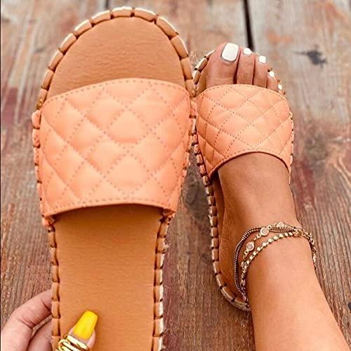 ypyrhh Zapatillas de Moda de Verano,Zapatillas de Ranura de Coche de Moda,Damas netas-Rosa_41,Zapatillas de Casa