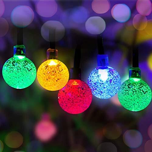 FANPING 50 LED Solar Powered al aire libre luces de cadena Panpany 22 pies multicolor de cristal blanco Bola de Chrismas Globe luces decorativas de iluminación for el jardín, Patio, Jardín, Hogar, Chr
