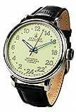 24 horas reloj para hombre, esfera luminosa, correa de piel, POLJOT International
