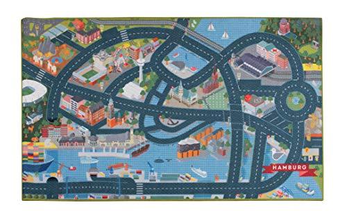 Heimatpiste Spielteppich Stadt Hamburg - Straßenteppich für Kinder, Spieleteppich Straße, 100 x 160 cm, Ökotex 100 Zertifiziert, Teppich Kinderzimmer mit Kettelung