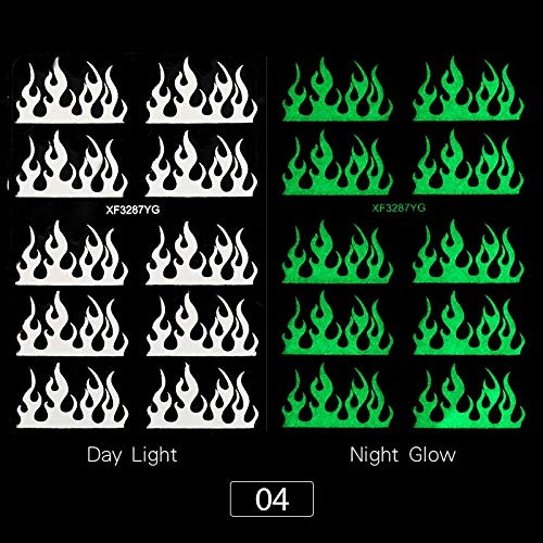 1 Sheet Luminous 3D Nail Stickers Christmas Snowflake Santa Claus Transfer Stickers Glow in Dark Slider Stickers for Nails Decor