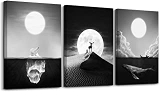 Wall Art Abstract Black Animal and Full Moon Painting The Picture Print On Canvas Animal Pictures for Home Decor Decoration Gift Piece