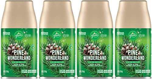 Glade Automatic Spray Refill - Pine Wonderland - Holiday Collection 2020 - Net Wt. 6.2 OZ (175 g) Per Refill Can - Pack of 4 Refill Cans