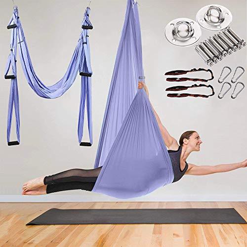 MQSS Amaca Professionale per Yoga in Volo Yoga Flying Swing Aerial-Yoga Amaca Tessuto di Seta con moschettone Daisy Chain per Esercizi di inversione di Yoga antigravity Purple