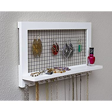 White Wooden Wall Mount Jewelry Organizer for Earrings / Necklaces / Bracelets / Accessories (White- Hooks)