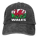 Drapeau du Pays de Galles Joueur de Football Rugby Hommes Femmes Casquettes de Baseball Réglables Casquette de Hip Hop en Denim Teint en Fil