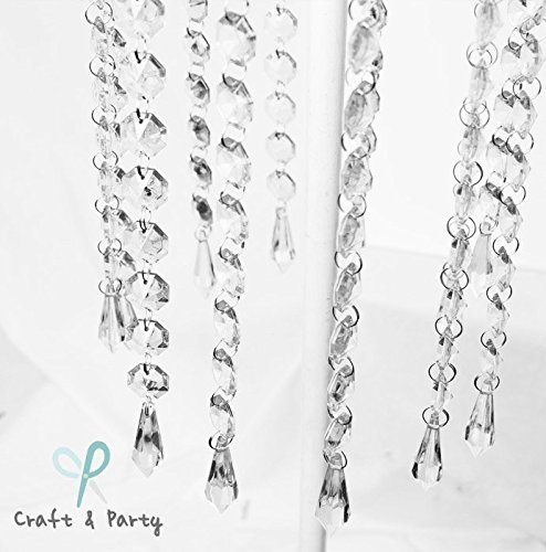 Craft and Party - 20' Hanging Acrylic Bead Chains Decoration -12 Pieces (Diamond, Clear)