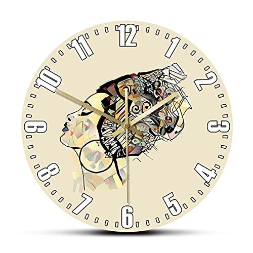 hufeng Reloj de Pared Retrato de Mujer Africana con Sombrero Pintura de Belleza Negra Arte Reloj de Pared Impreso Reloj de Pared afrocéntrico Decoración silenciosa sin tictac Reloj de Pared