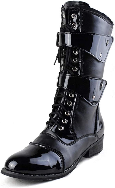 Ruiyue Mode Mitte der der der Wade Stiefel, Wachs PU Leder hohe Schnalle Dekoration Seitlichem Reißverschluss Schnürung Schuhe (Farbe   Schwarz, Größe   40 EU)  f79228