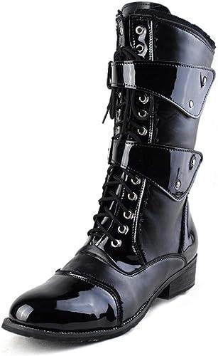 Ruiyue Bottes mi-molletées à la Mode, Chaussures en Cire à Lacets avec Fermeture à glissière latérale en Cuir PU (Couleur   Noir, Taille   40 EU)