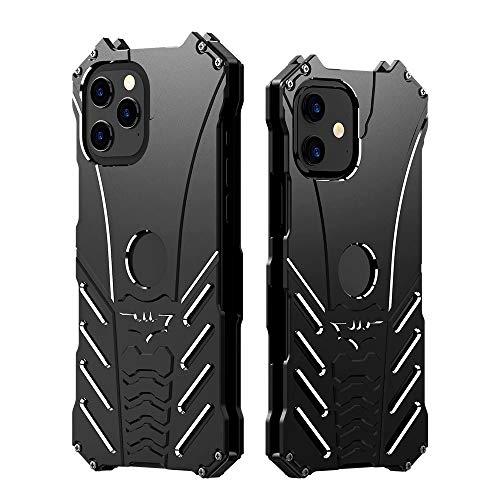 Carcasa de metal para iPhone 12 Pro, iPhone 12 Pro, armadura antigolpes con soporte de murciélago de aluminio a prueba de golpes para iPhone 12 de 6.1 pulgadas (iPhone 12 Pro/iPhone 12, negro)