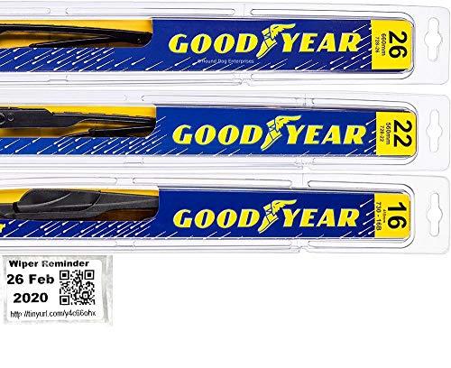 Windshield Wiper Blade Set/Kit/Bundle for 2005-2019 Honda Odyssey - Driver, Passenger Blade & Rear Blade & Reminder Sticker (Premium with Goodyear Rear)
