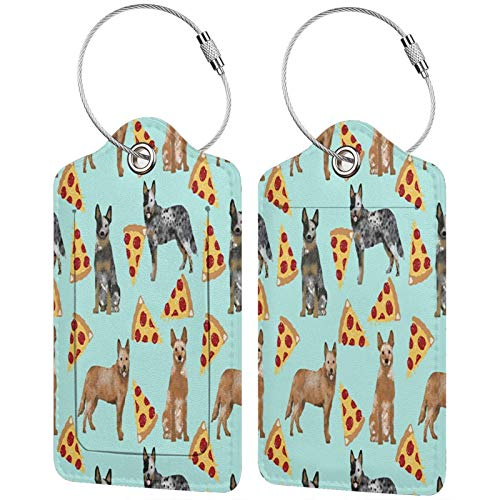 Australian Cattle Dog Pizza Luggage Tags Leather Travel Suitcases Id Identifier Baggage Label Card Holder.