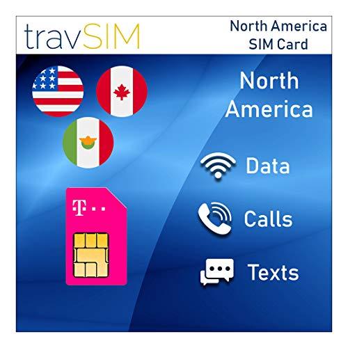 travSIM T-Mobile Prepaid SIM-Karte USA, Kanada & Mexiko - 50GB US - 5GB CA & MX - 4G / LTE Daten, Unbegrenzte Nationale Sprachanrufe & SMS - Gültig für 7 Tage