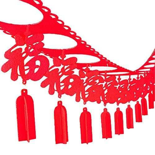 Chinesische Neujahrs-Girlande,Chinesische Neujahrsfahne,Chinesisches Neujahr Frühlingsfest Vlies Hängende Girlande Banner für Home Parties Feier Dekoration Lieferungen Stil A