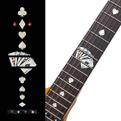 Inlaystickers Sticker Griffbrett Position Marker für Gitarren - Playing Cards - Weiß Perle, F-020PC-WT