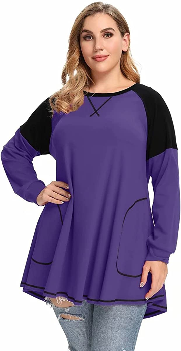 LARACE Color Block Tops with Pocket Plus Size Lightweight Sweatshirts Long Sleeve Tunic Women Raglan Pullover Shirts