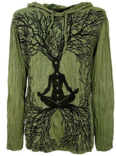 Guru-Shop, Sicuro Camicia a Maniche Lunghe, Felpa con Cappuccio Meditazione Chakra, Oliva, Cotone, Dimensione Indumenti:L, Magliette `Sure`