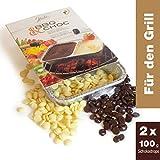 2x100g BBQ CHOC - Fonduta di cioccolato alla griglia - fondente e bianco - con 2 ciotole