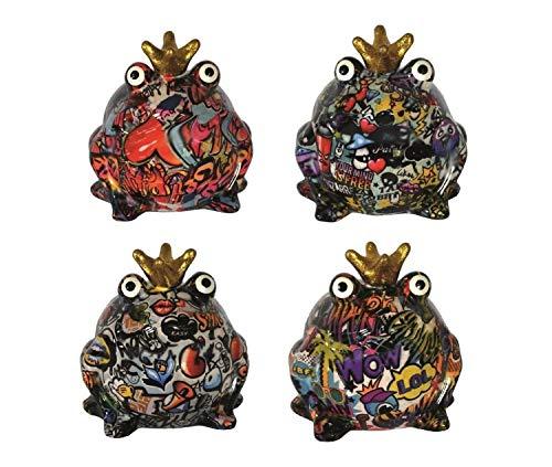 netproshop Spardose Graffitti Frosch aus Keramik Pomme Pidou Sabo Design, Auswahl:Frosch/Graffiti/Peace