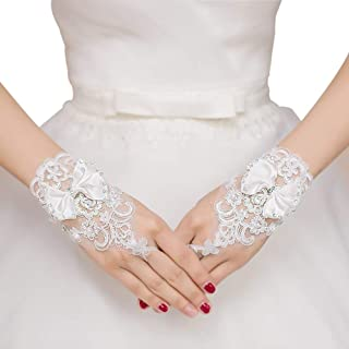 Women Bow Gloves Short Gloves for Wedding Evening Party