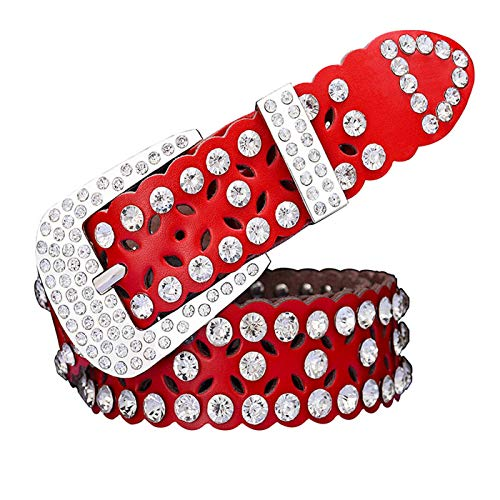 PmseK Cintura Donna Uomo Fashion Rhinestone Cow Vera Pelle Belts For Women Luxury Pin Buckle Woman Belt High Quality Waist Strap For Jeans Female Red A 95cm