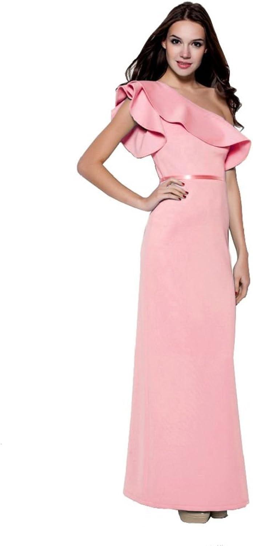 BeautyEmily Ruffles One Shoulder Short Sleeve Evening Dresses