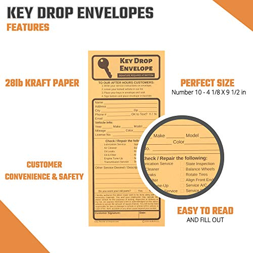 Key Drop Envelopes for After Hours – Auto Shop Repair or Service Peel & Seal Drop Box Envelopes - Automotive Mechanic Night Drop Off, Overnight or Early Bird, Kraft Paper, 4 1/8 x 9 1/2 (50) Photo #4
