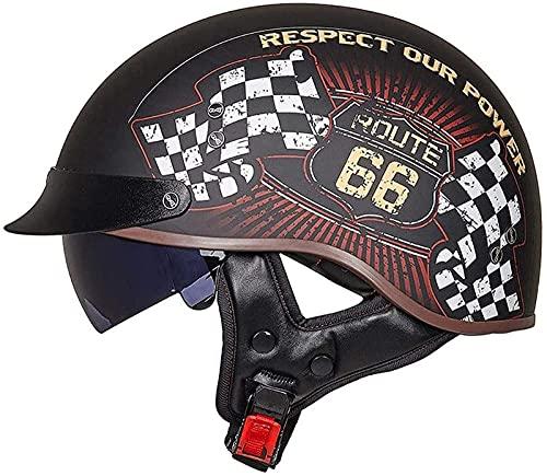 Cascos De Motocicleta Casco De Motocicleta Vintage para Hombres y Mujeres,con Visera Reflectante.El Cabezal Anticolisión Protege La Seguridad Vial De Los Usuarios Certificado ECE H,M=55~56CM