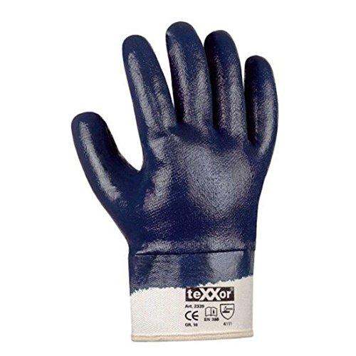 texxor 1 Paar Arbeitshandschuhe Nitrilhandschuhe blau 660 Schutzhandschuhe