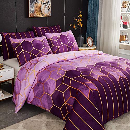 Juego de funda de edredón de 220 x 240 cm con 2 fundas de almohada de 50 x 70 cm, diseño geométrico, estampado bohemio, microfibra, juego de cama con cremallera para 2 personas, color morado