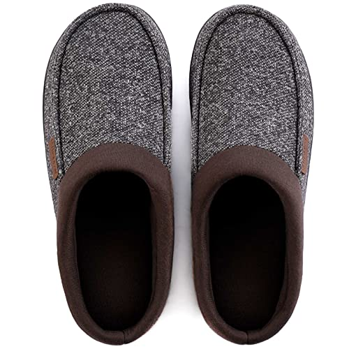 ULTRAIDEAS Men's Cozy Memory Foam Moccasin Suede Slippers with Fuzzy Plush Wool-Like Lining, Slip on Mules Clogs House Shoes with Indoor Outdoor Anti-Skid Rubber Sole(Coffee/Gray, 7-8)
