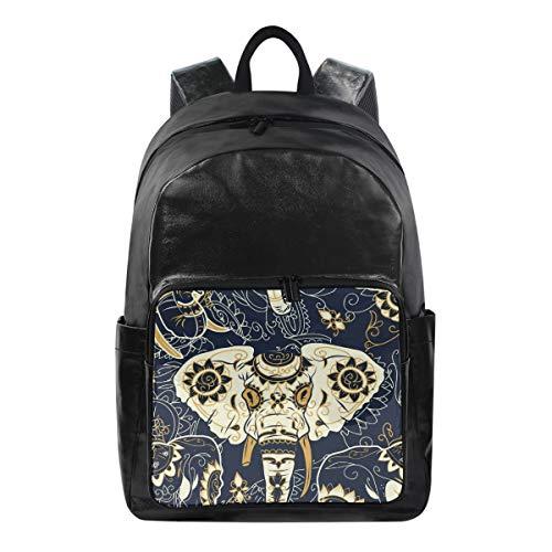 ALarge Sac à dos en toile Motif floral et tribal éléphant Boho multi-fonction pour l'école, l'université, le livre de voyage, la randonnée, le camping, le sac à dos