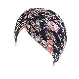 Vobony Kopftuch Damen Chemotherapie Blumenmuster Baumwolle Turban kopfbedeckung Headwrap Schlaf Kappe Bandana für Haarverlust (#7)